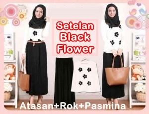 Baju Setelan Wanita Black Flower